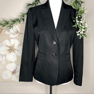 TAHARI | Black Pinstripe Petite 2-Button Blazer